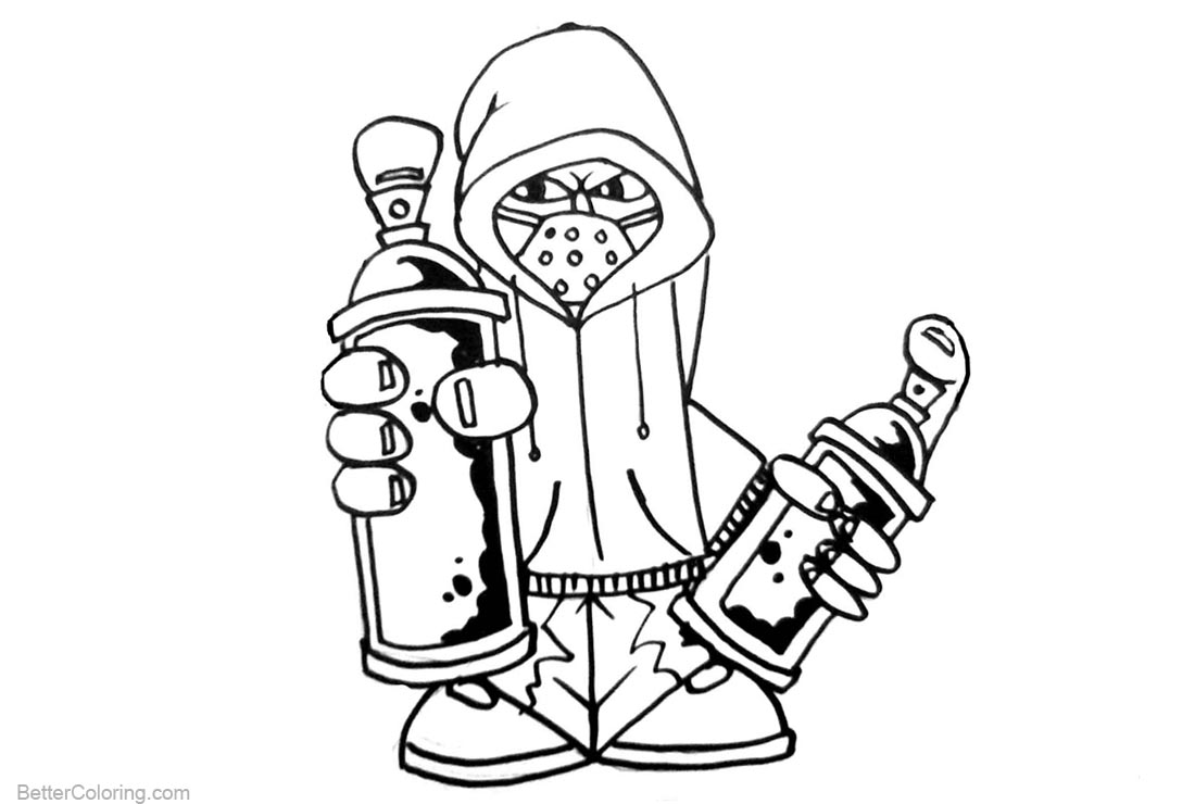 Graffiti Coloring Pages Black And White Free Printable