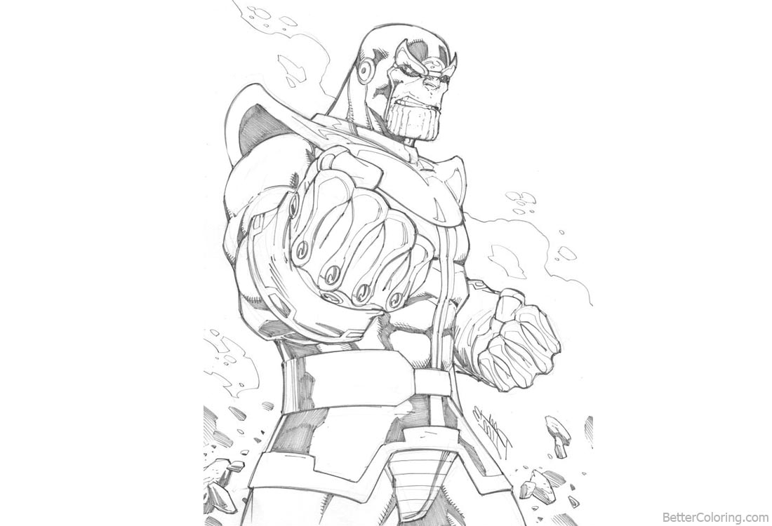 Marvel avengers infinity war thanos coloring pages lineart