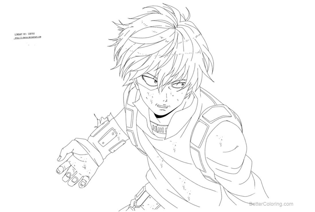 My Hero Academia Coloring Pages Todoroki by i devos  Free