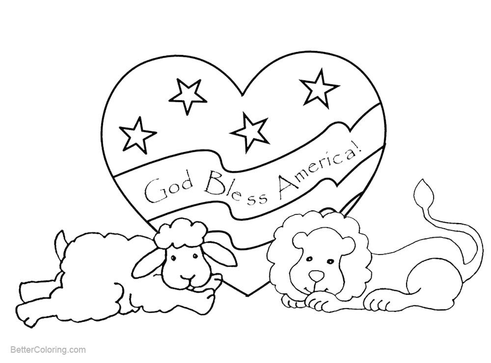 Patriotic Coloring Pages Animals with God Bless America