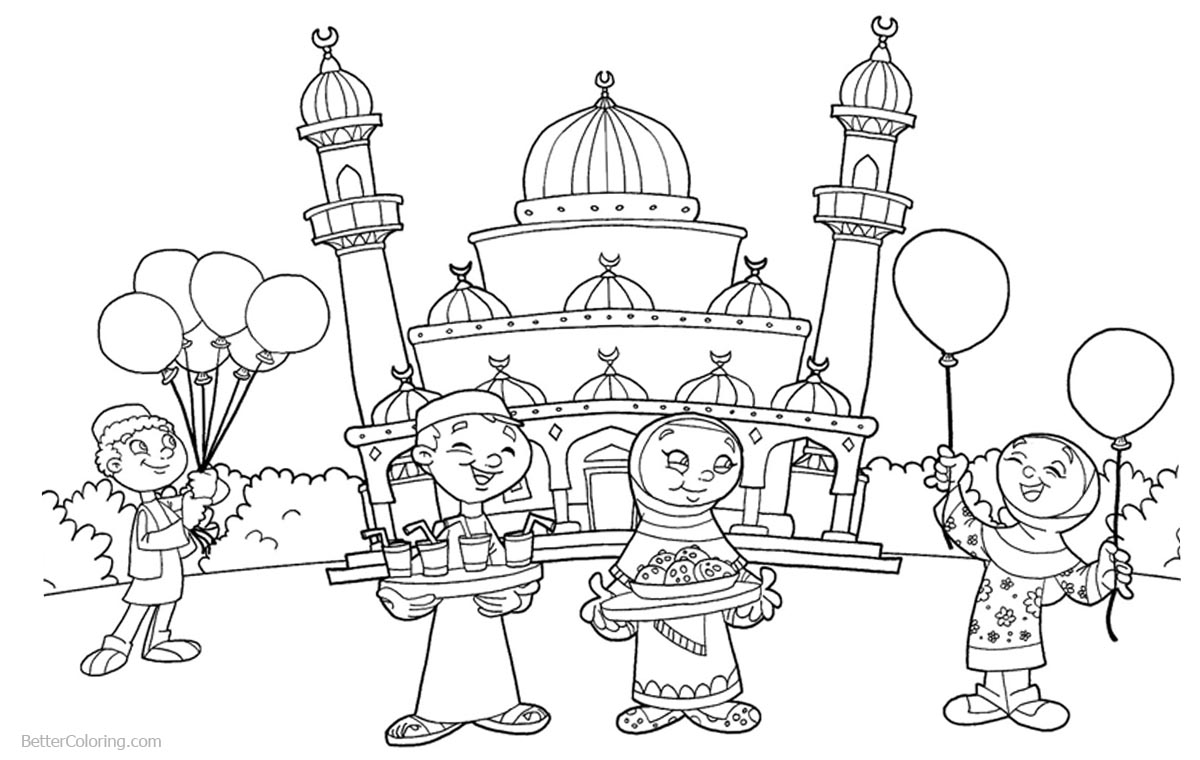 Free Mosque Picture Coloring Pages Sketch Coloring Page