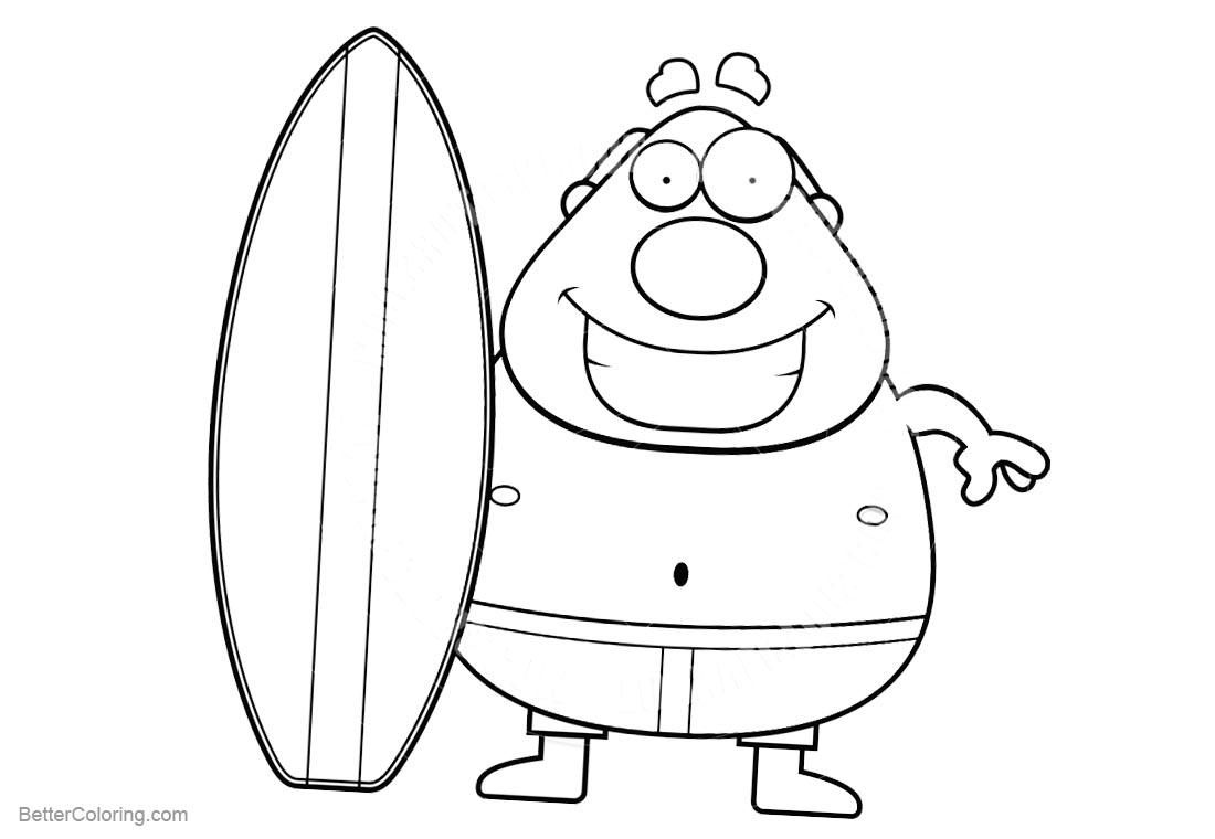Surfboard Coloring Pages Clipart Free Printable Coloring