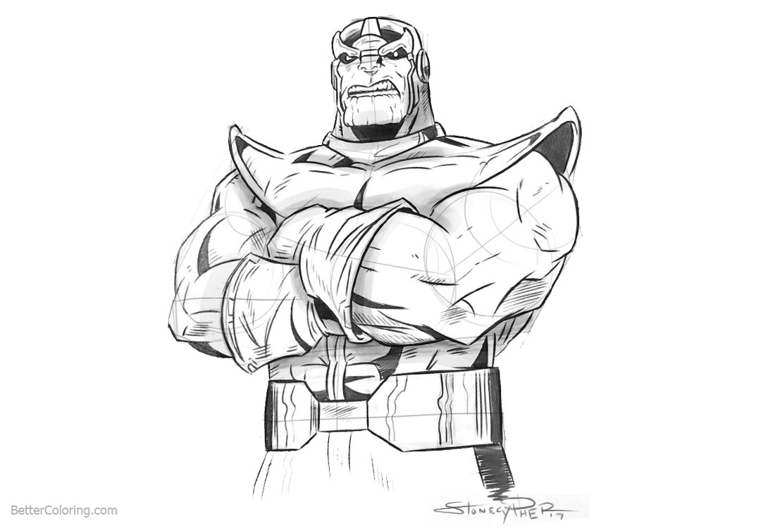 Thanos from Avengers Infinity War Coloring Pages by Andrew