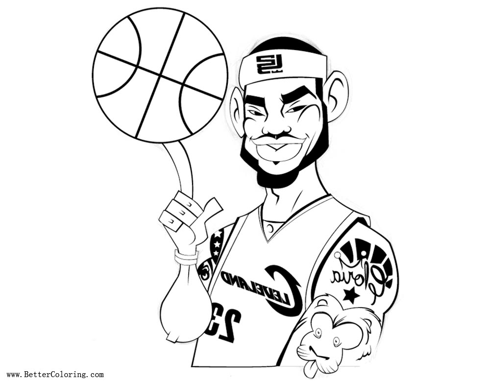 Lebron James Coloring Pages with Basketball Cartoon
