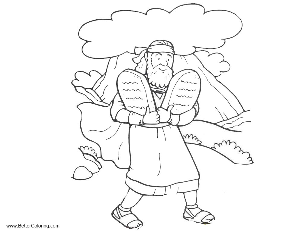 Moses With Two Tablets of Ten Commandments Coloring Pages