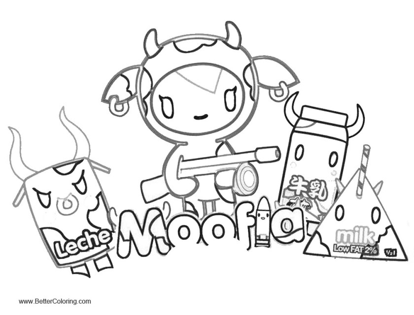 tokidoki coloring pages moofia and milk  free printable