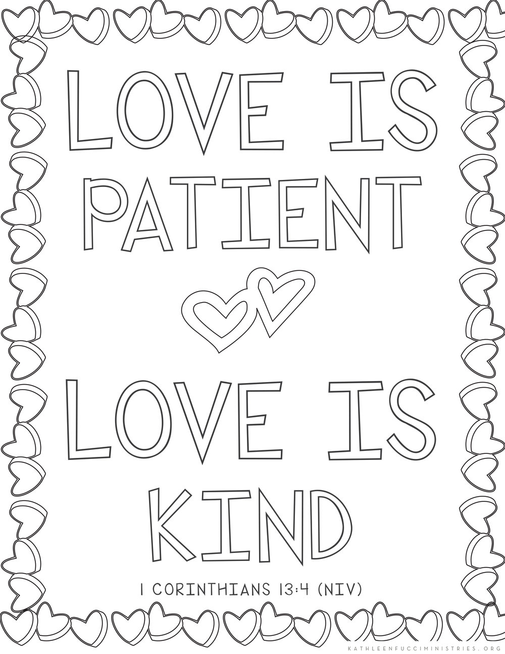 Bible Verse Coloring Pages Love Is Patient Love Is Kind