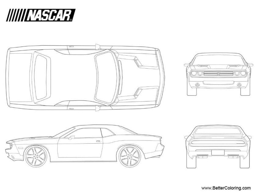 nascar coloring pages 19 dodge challenger  free