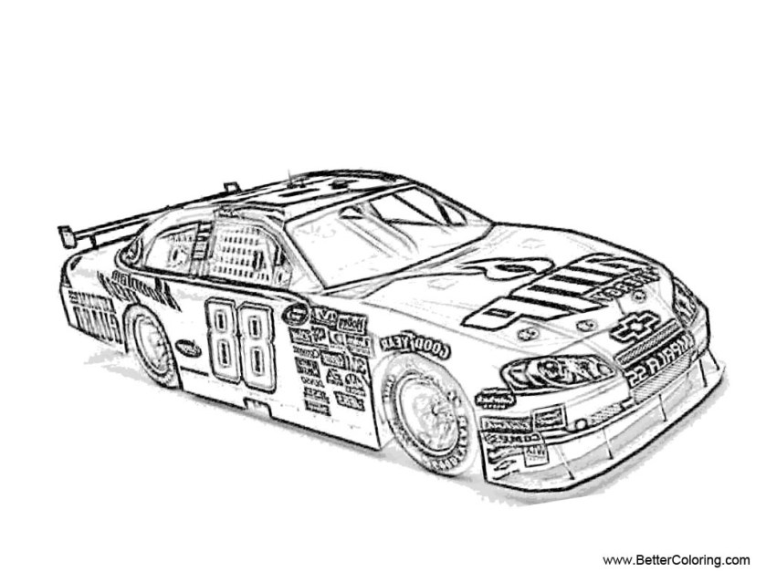 nascar coloring pages black and white  free printable
