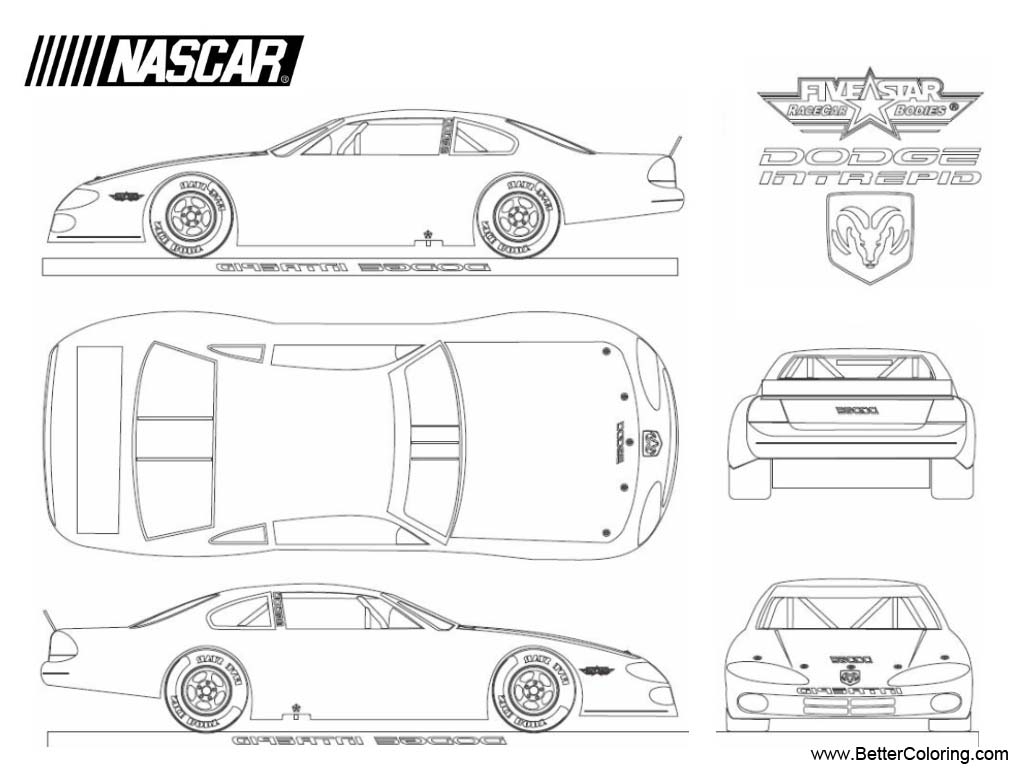 Nascar Coloring Pages Dodge Intrepid