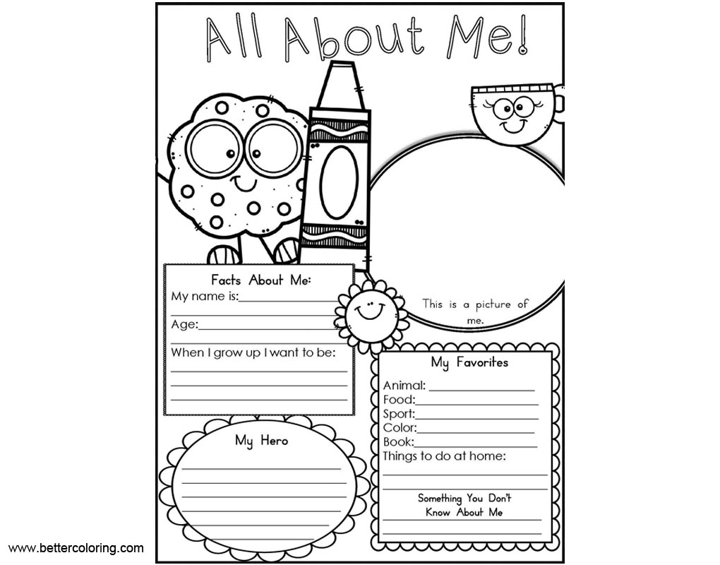All About ME Coloring Pages Worksheets for Preschoolers