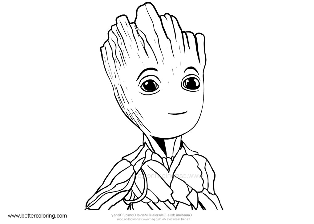Cute Baby Groot Pages Coloring Pages