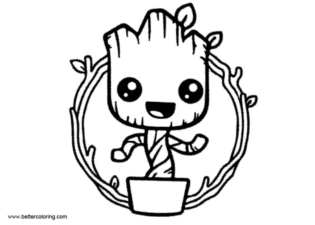 Comfortable Funny Baby Groot Coloring Pages Free Printable