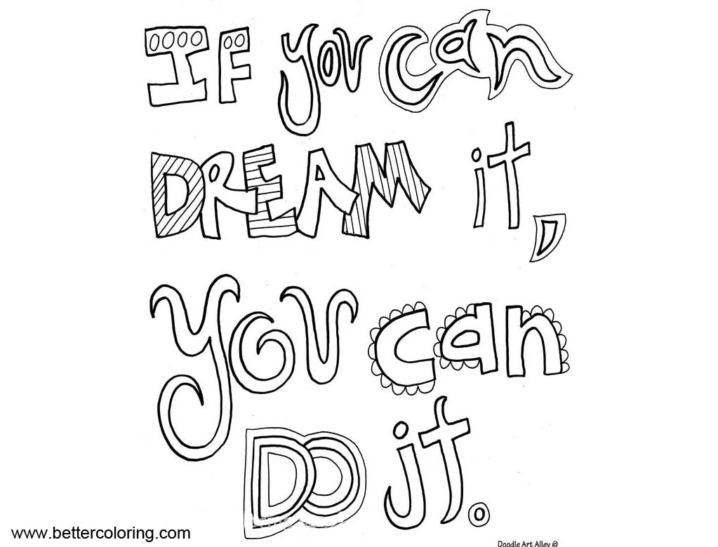 Growth Mindset Quotes Coloring Pages If You Can Dream It
