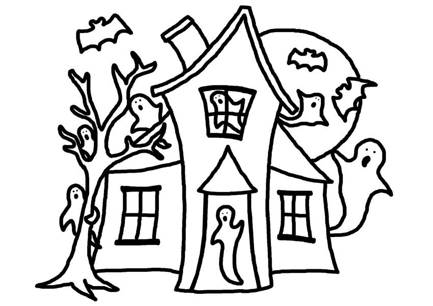 Haunted House Coloring Pages Easy Drawing Free Printable