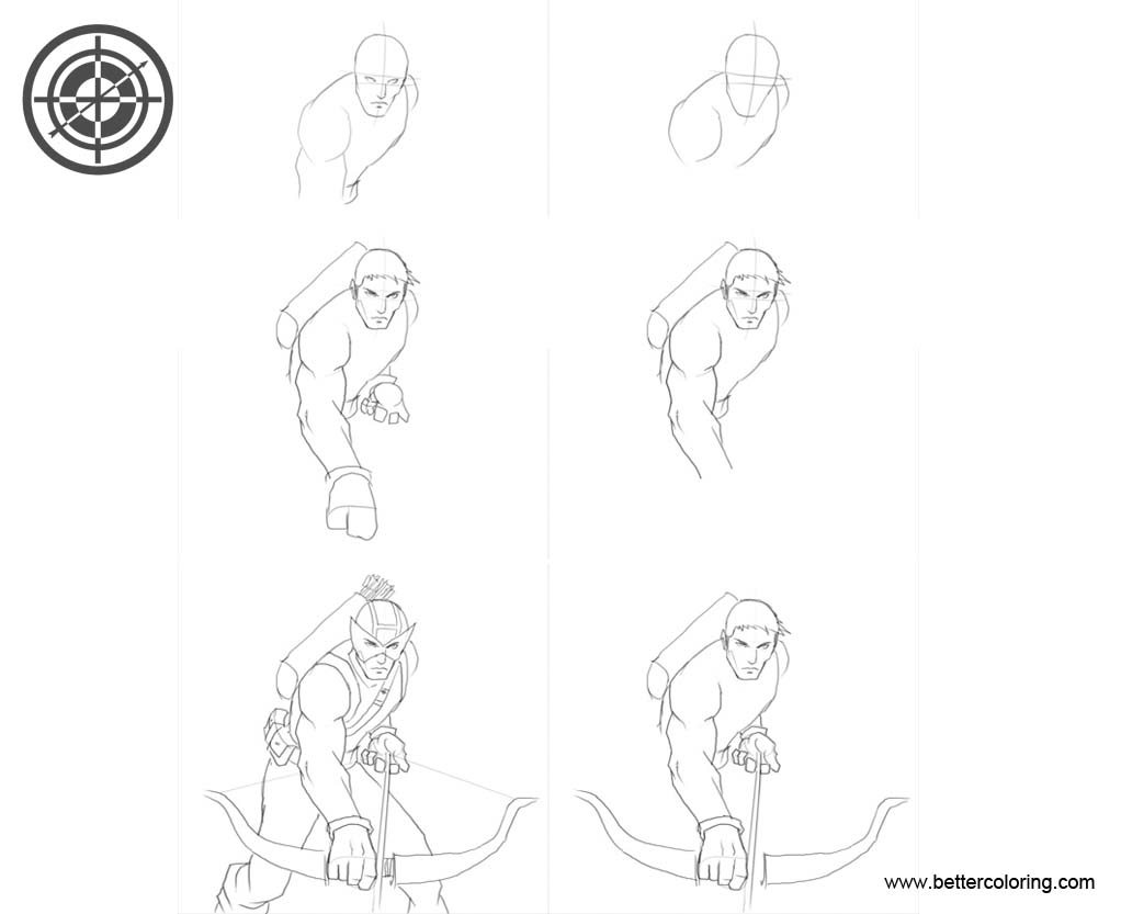 Hawkeye Coloring Pages How to Draw Tutorial Step by Step