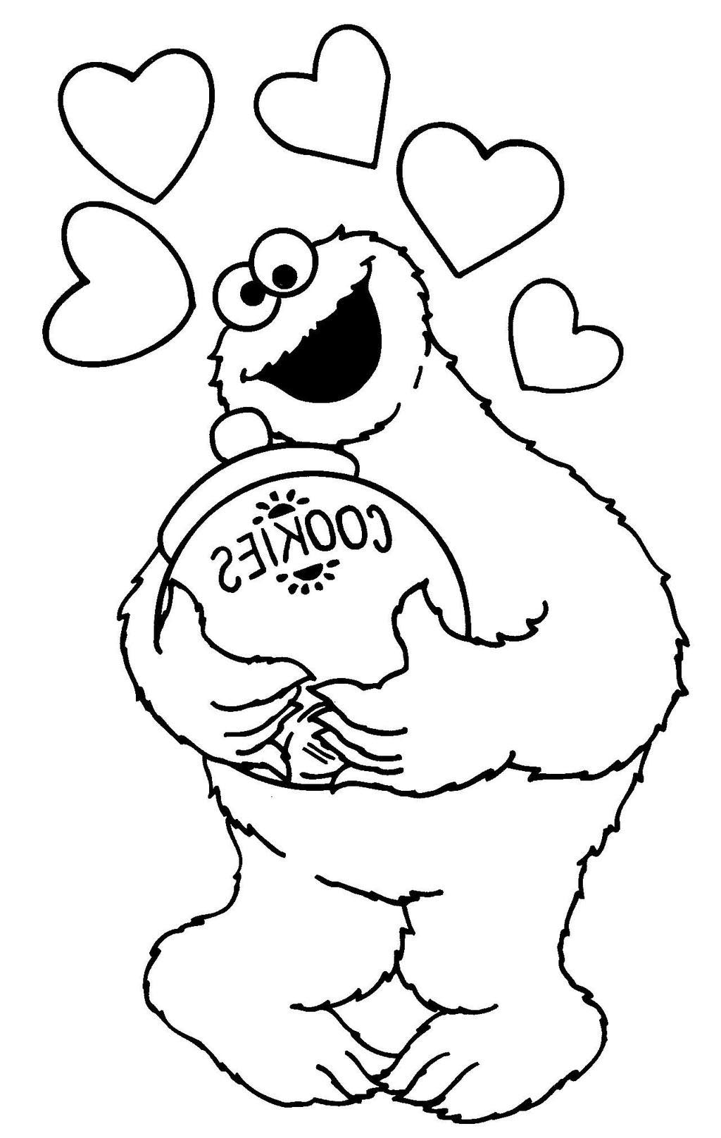 Cookie Monster Coloring Pages Jar Clipart