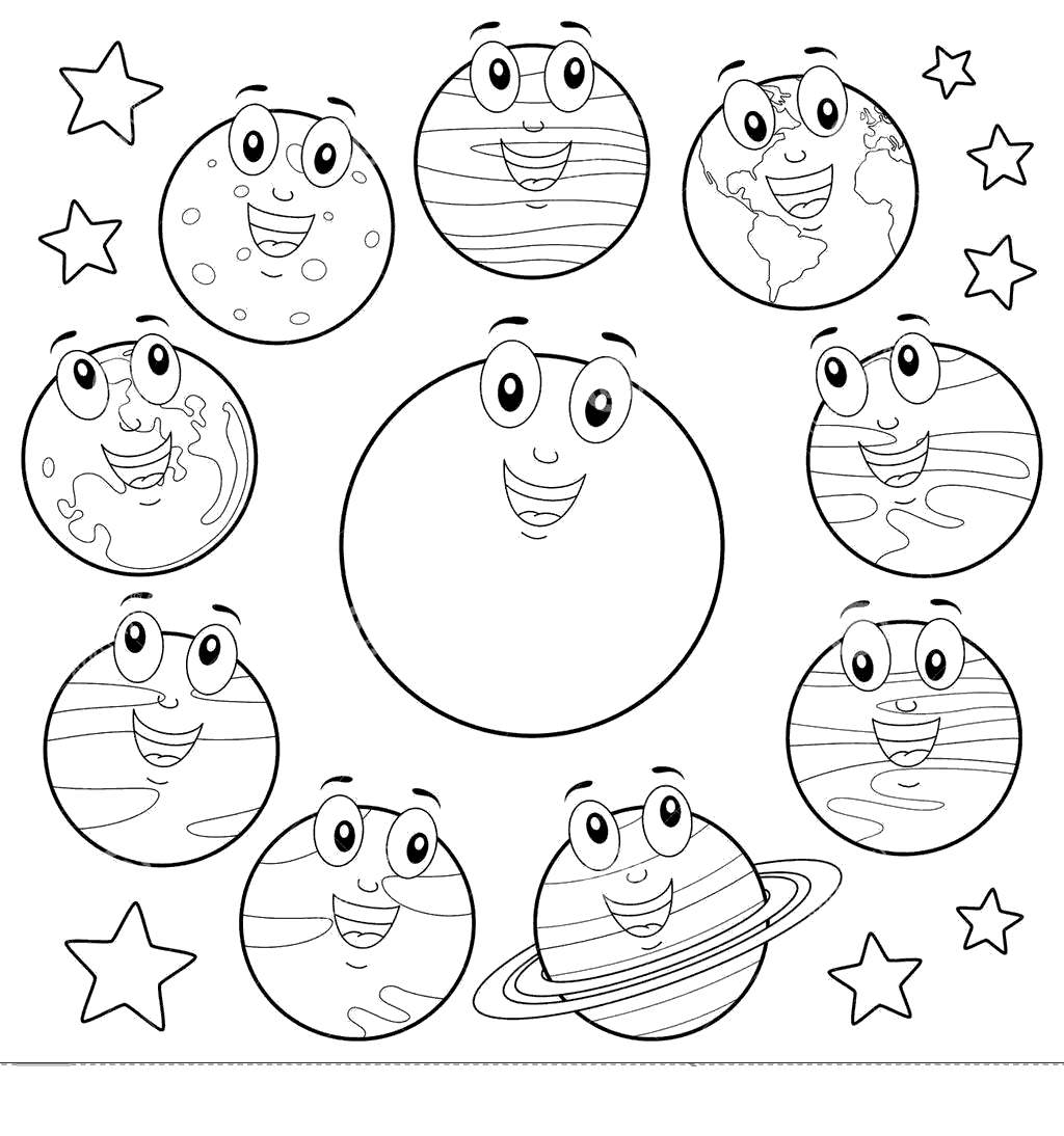 Eight Planets Coloring Pages Cartoon Sun