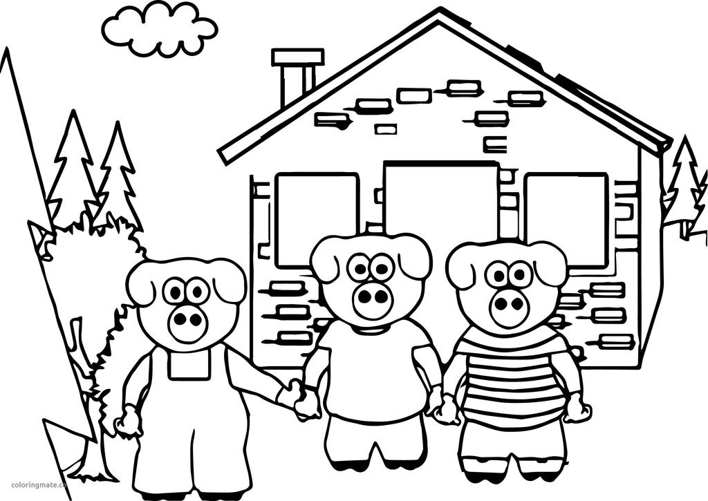 Three Little Pigs Coloring Pages Childrens Characters
