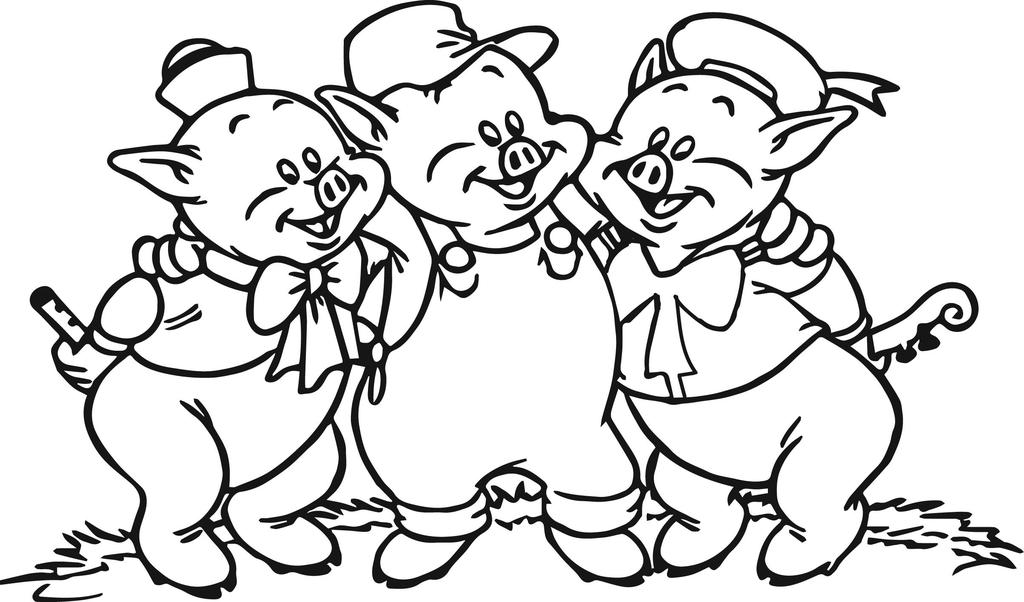 Three Little Pigs Coloring Pages Lovely Line Drawing