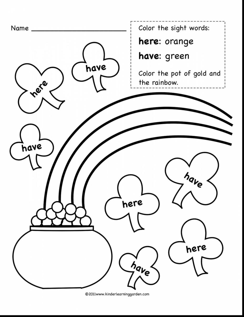 First Grade Sight Word Coloring Pages Rainbow Words