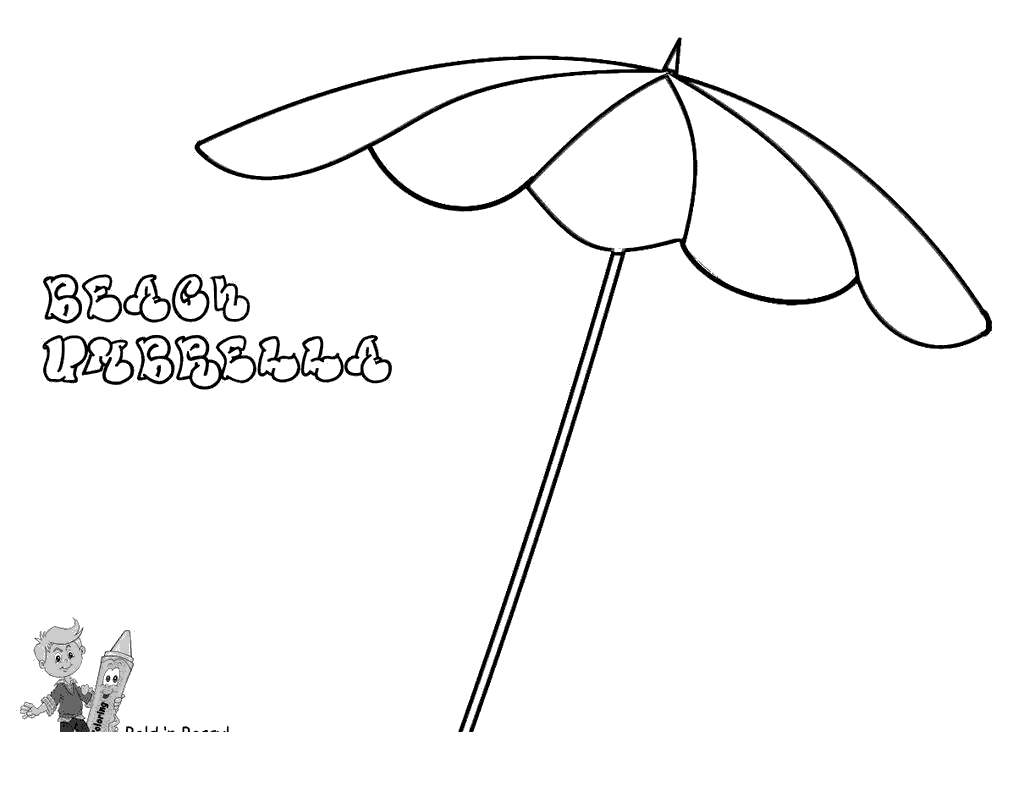 Beach Umbrella Coloring Pages Sheets Sketch