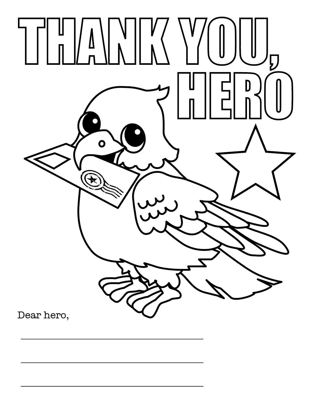 Veterans Day Coloring Pages Letter Thank You