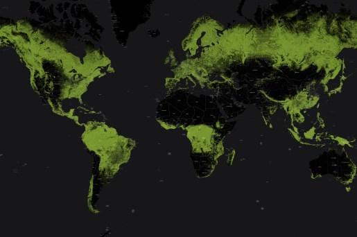 Skogstäckningen i världen. Från GlobalForestWatch.org