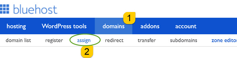 assign and add new domains to bluehost hosting account