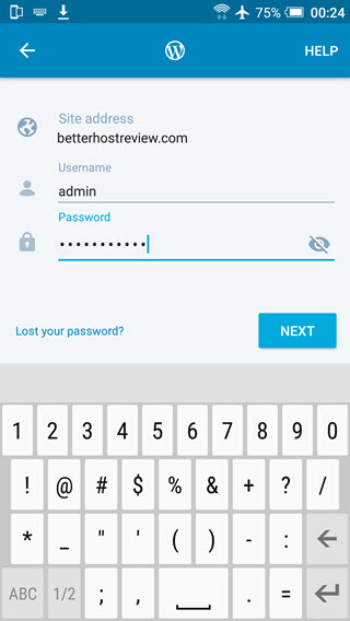 connect wordpress site via username password using WordPress for android