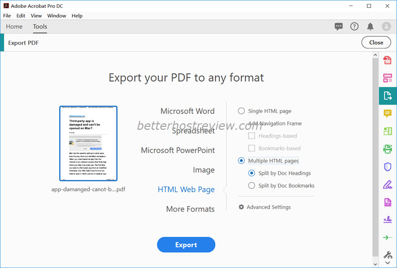 Convert PDF to HTML using Adobe Acrobat – Better Host Review