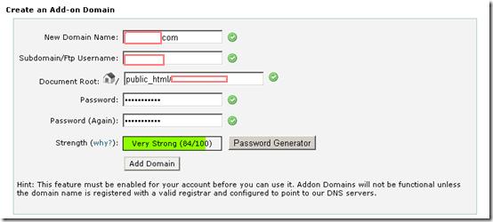 addon domain configuration setup with hostgator