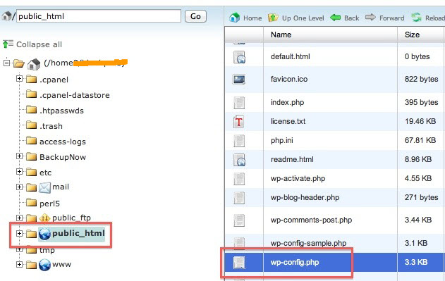 create wordpress database connection in cpanel