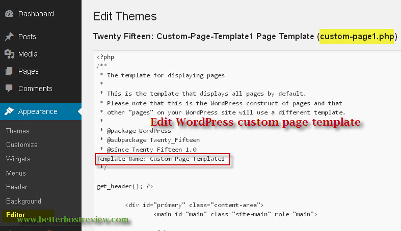 Create wordpress custom page template better host review edit wordpress custom page template pronofoot35fo Images