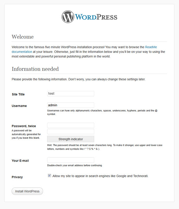 install wordpress from web browser