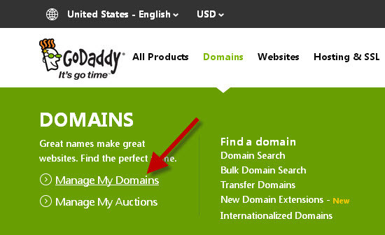 manage domains at godaddy