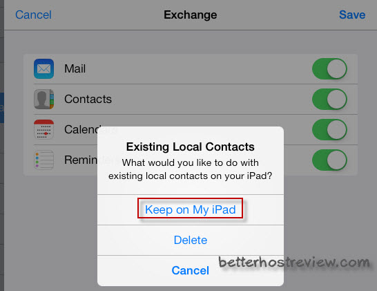 sync hotmail contacts to ipad via exchange