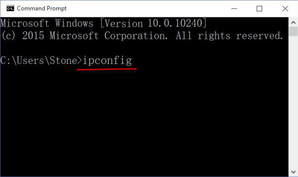 windows 10 command prompt ipconfig