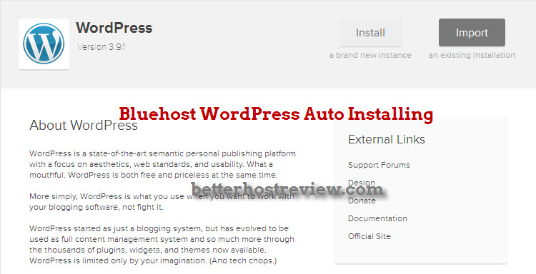 WordPress auto install with bluehost