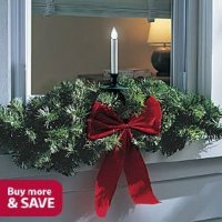 Outdoor LED Christmas Window Candle and Swag, Single ...