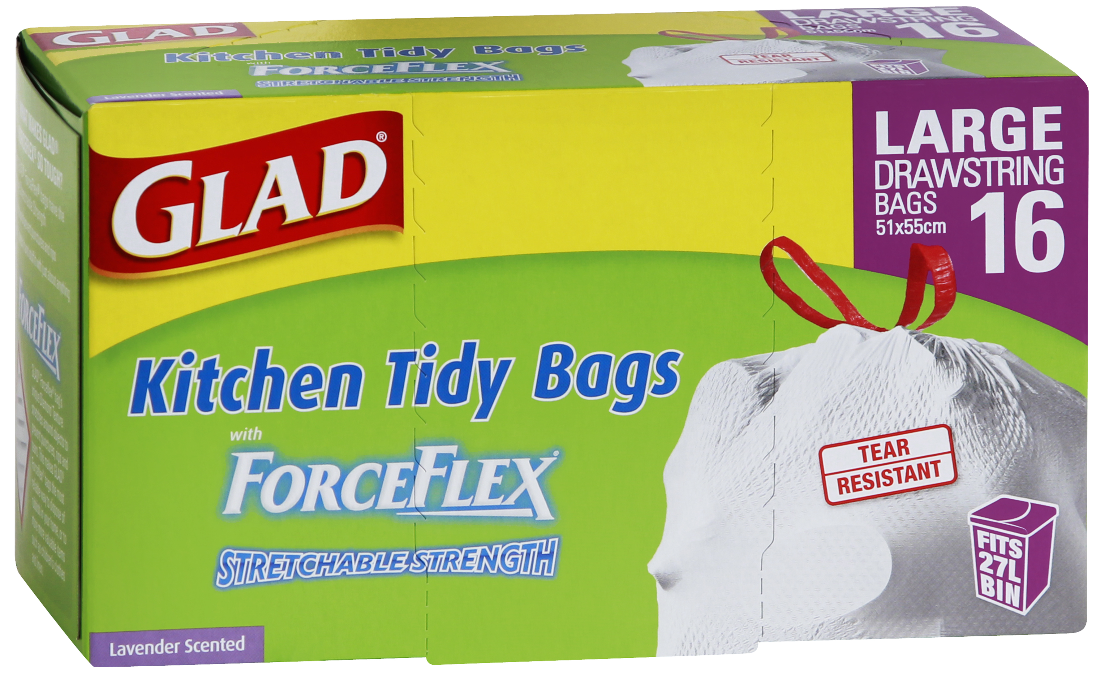 glad kitchen bags yellow towels forceflex drawstring tidy better living home our brands