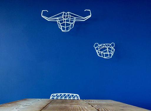 Geometric Animals blue wall