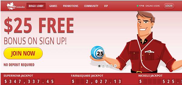 Bingo Canada- Get $25 No Deposit