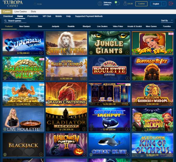 Europa casino games