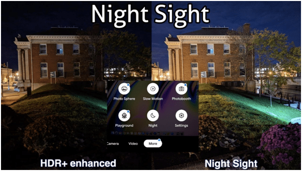 Night sight feature in cell phone