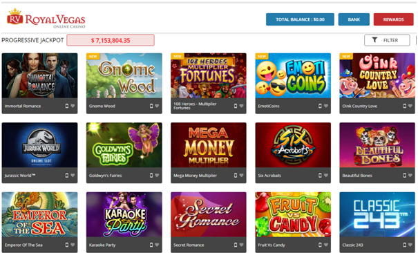 royal Vegas casino real money slots- Choose slot to play
