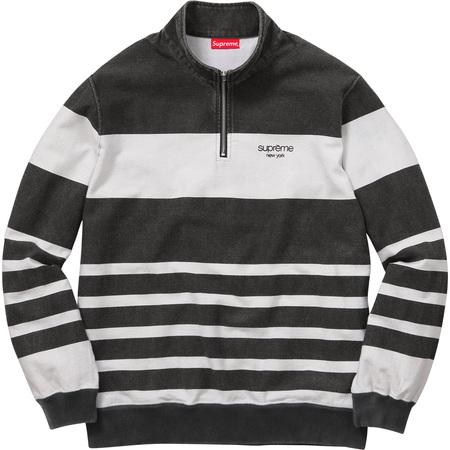Printed Stripe Half Zip Sweat (Black)