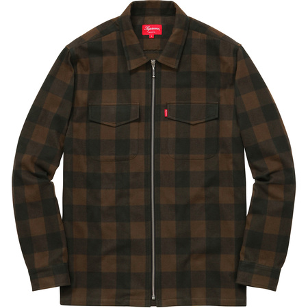 Buffalo Plaid Flannel Zip Shirt (Brown)