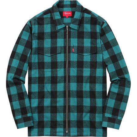 Buffalo Plaid Flannel Zip Shirt (Teal)