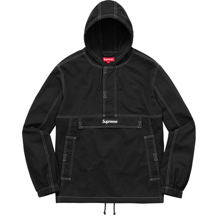 Contrast Stitch Twill Pullover (Black)